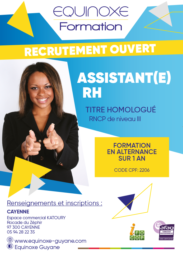 Formation Assistant(e) Ressources Humaines - Equinoxe Guyane